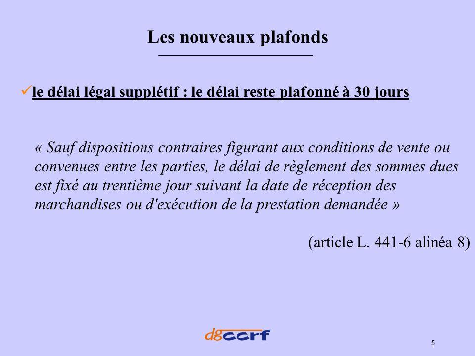 5 le délai légal supplétif : le délai reste plafonné à 30 jours Les nouveaux plafonds « Sauf dispositions contraires figurant aux conditions de vente