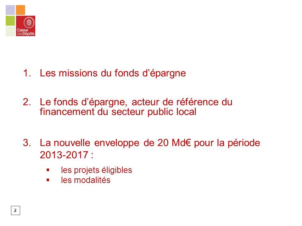 2 1.Les missions du fonds dépargne 2.Le fonds dépargne, acteur de référence du financement du secteur public local 3.La nouvelle enveloppe de 20 Md pour la période 2013-2017 : les projets éligibles les modalités