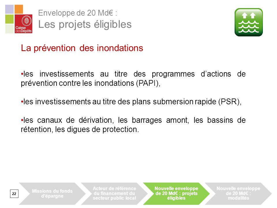 22 La prévention des inondations les investissements au titre des programmes dactions de prévention contre les inondations (PAPI), les investissements au titre des plans submersion rapide (PSR), les canaux de dérivation, les barrages amont, les bassins de rétention, les digues de protection.