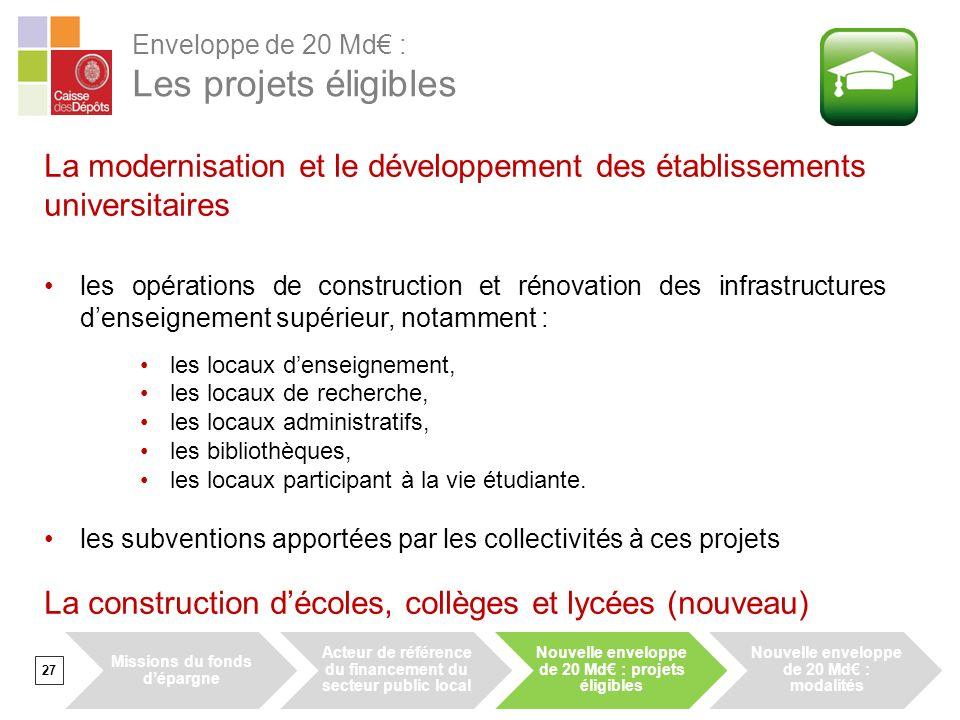 27 La modernisation et le développement des établissements universitaires les opérations de construction et rénovation des infrastructures denseigneme