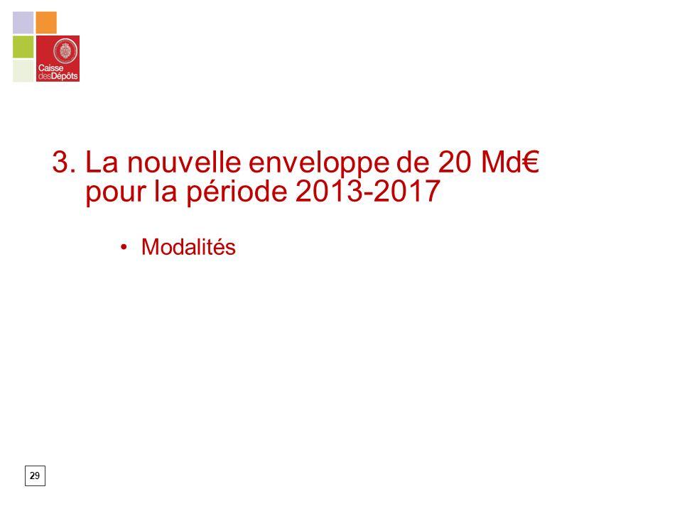 29 3. La nouvelle enveloppe de 20 Md pour la période 2013-2017 Modalités