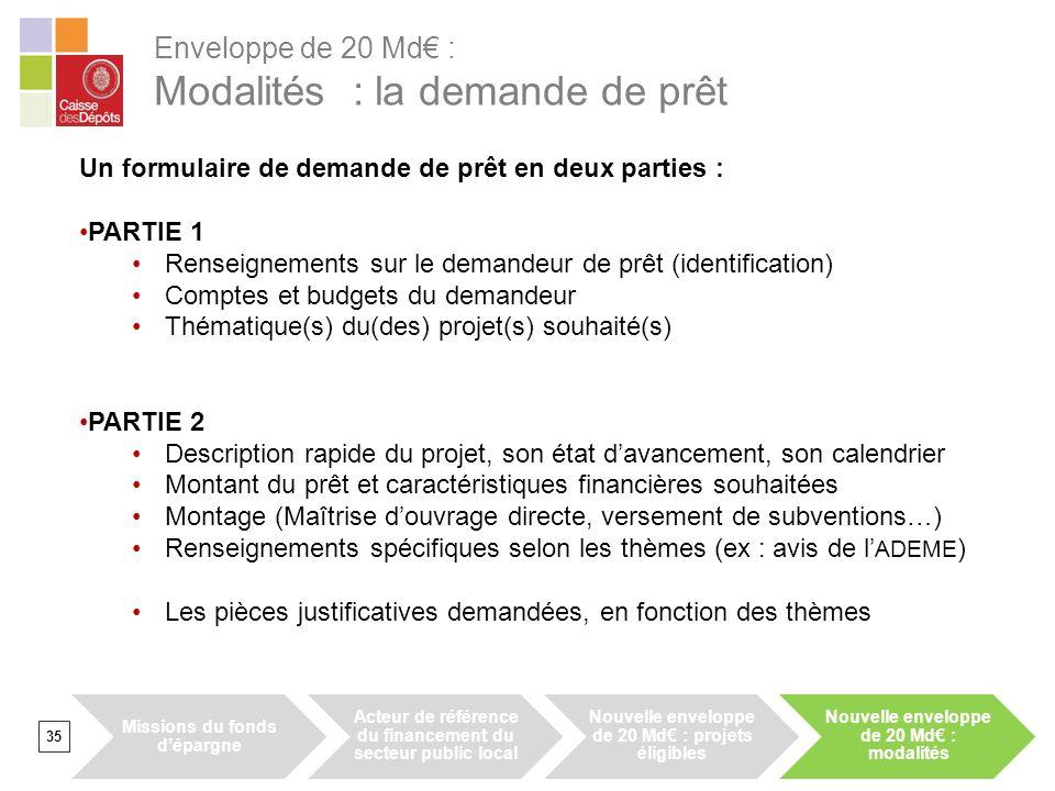 Enveloppe de 20 Md : Modalités : la demande de prêt 35 Un formulaire de demande de prêt en deux parties : PARTIE 1 Renseignements sur le demandeur de