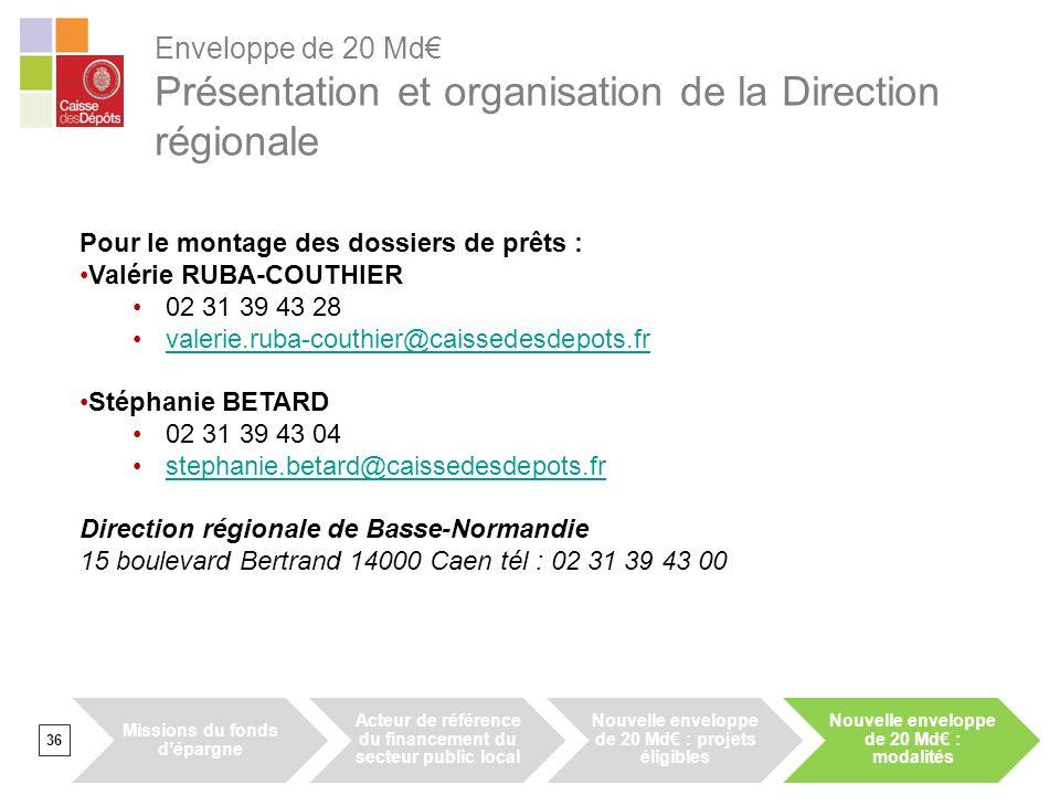 Enveloppe de 20 Md Présentation et organisation de la Direction régionale 36 Pour le montage des dossiers de prêts : Valérie RUBA-COUTHIER 02 31 39 43