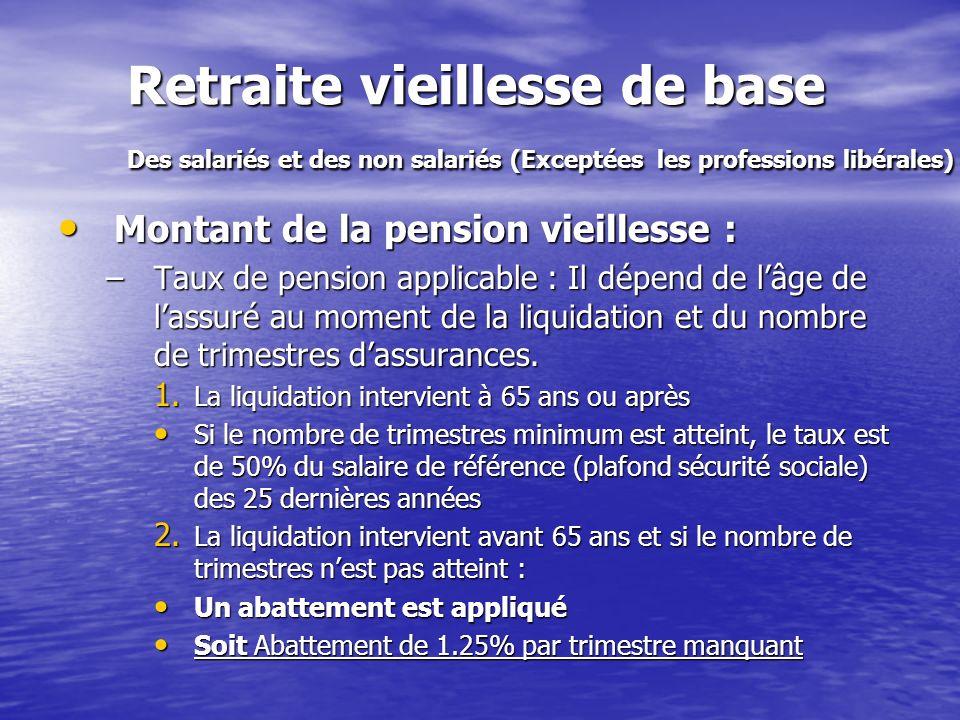 Retraite vieillesse de base Des salariés et des non salariés (Exceptées les professions libérales) Montant de la pension vieillesse : Montant de la pe