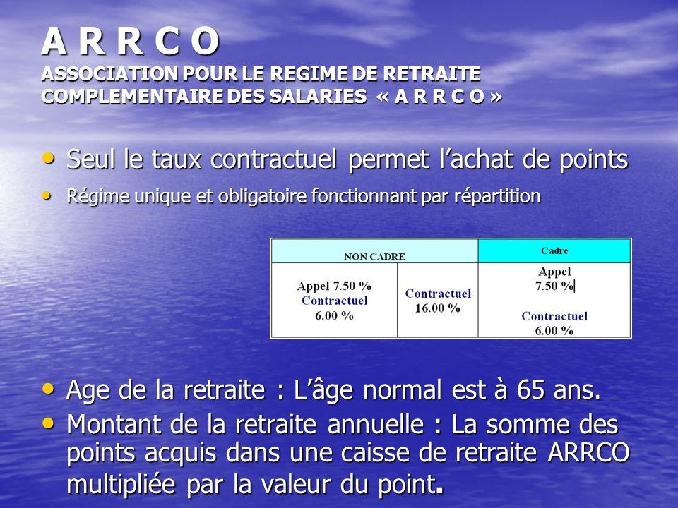 A R R C O ASSOCIATION POUR LE REGIME DE RETRAITE COMPLEMENTAIRE DES SALARIES « A R R C O » Seul le taux contractuel permet lachat de points Seul le ta