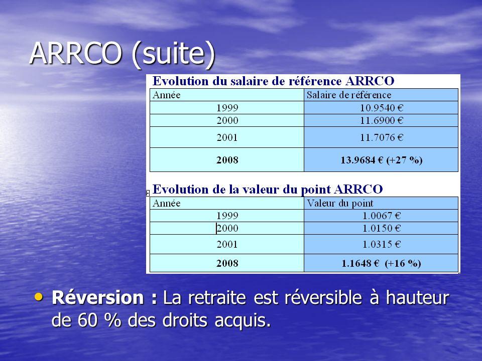 ARRCO (suite) Réversion : La retraite est réversible à hauteur de 60 % des droits acquis. Réversion : La retraite est réversible à hauteur de 60 % des