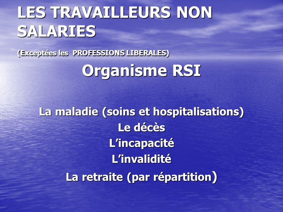 LES TRAVAILLEURS NON SALARIES (Exceptées les PROFESSIONS LIBERALES) Organisme RSI La maladie (soins et hospitalisations) Le décès LincapacitéLinvalidi