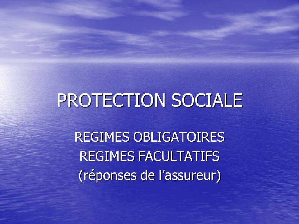 PROTECTION SOCIALE REGIMES OBLIGATOIRES REGIMES FACULTATIFS (réponses de lassureur)