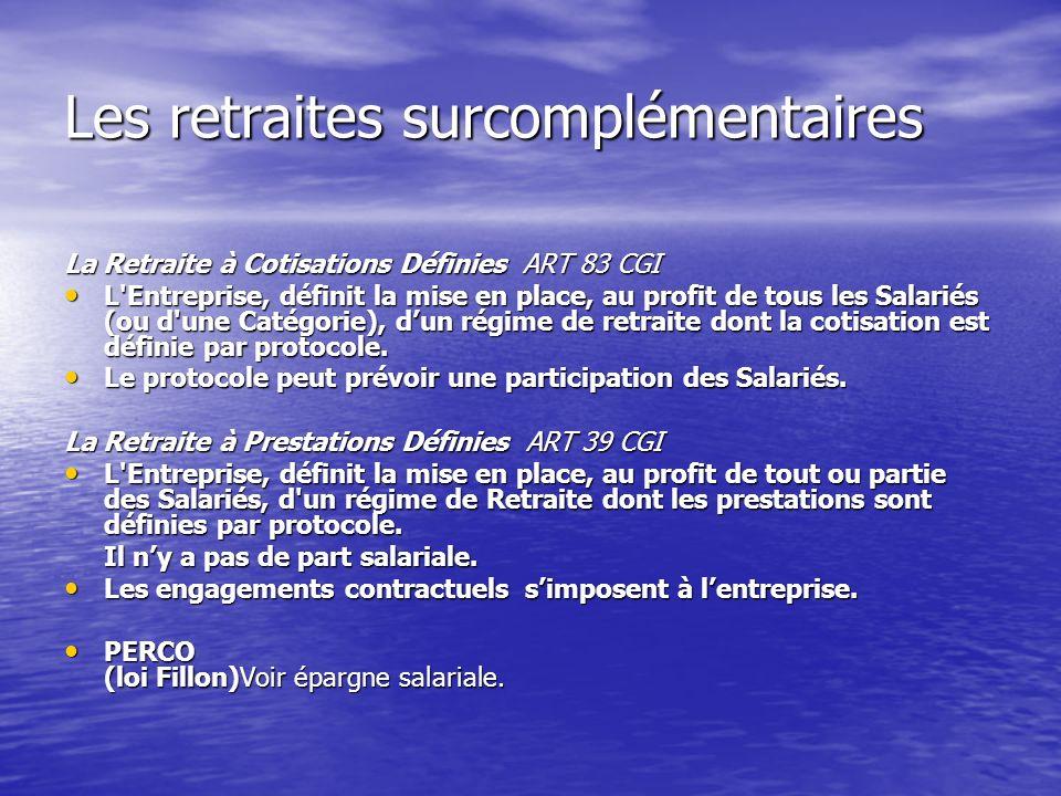 Les retraites surcomplémentaires La Retraite à Cotisations Définies ART 83 CGI L'Entreprise, définit la mise en place, au profit de tous les Salariés