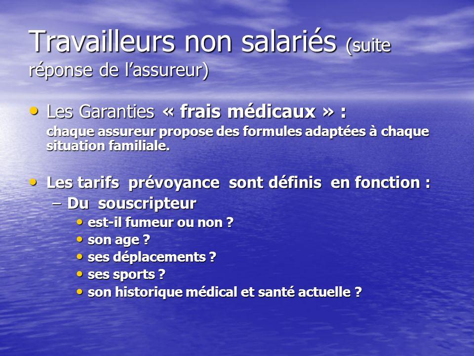Travailleurs non salariés (suite réponse de lassureur) Les Garanties « frais médicaux » : Les Garanties « frais médicaux » : chaque assureur propose d
