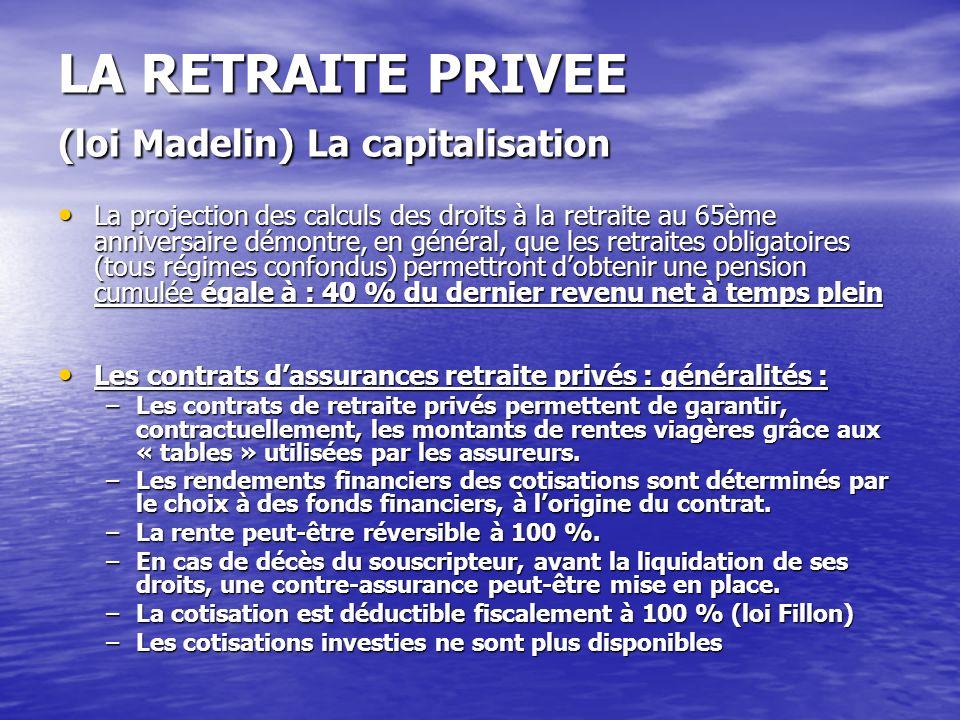 LA RETRAITE PRIVEE (loi Madelin) La capitalisation La projection des calculs des droits à la retraite au 65ème anniversaire démontre, en général, que