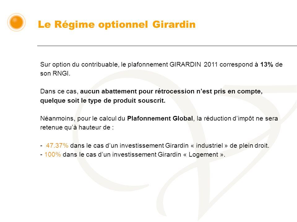 Sur option du contribuable, le plafonnement GIRARDIN 2011 correspond à 13% de son RNGI.