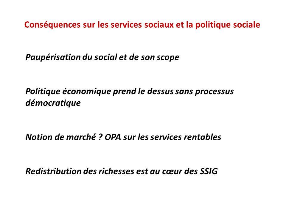 Conséquences sur les services sociaux et la politique sociale Paupérisation du social et de son scope Politique économique prend le dessus sans proces