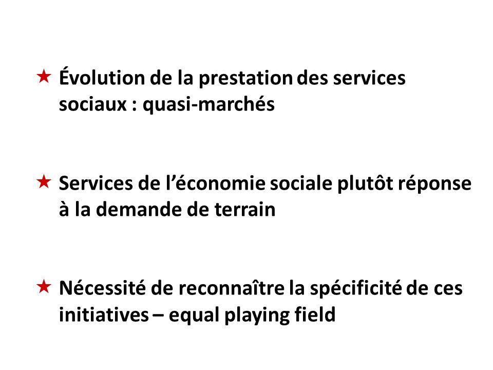 Évolution de la prestation des services sociaux : quasi-marchés Services de léconomie sociale plutôt réponse à la demande de terrain Nécessité de reco
