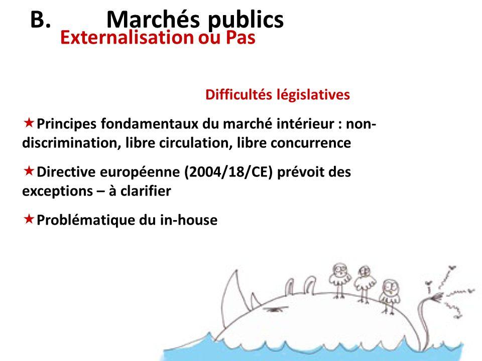 Externalisation ou Pas B. Marchés publics Difficultés législatives Principes fondamentaux du marché intérieur : non- discrimination, libre circulation