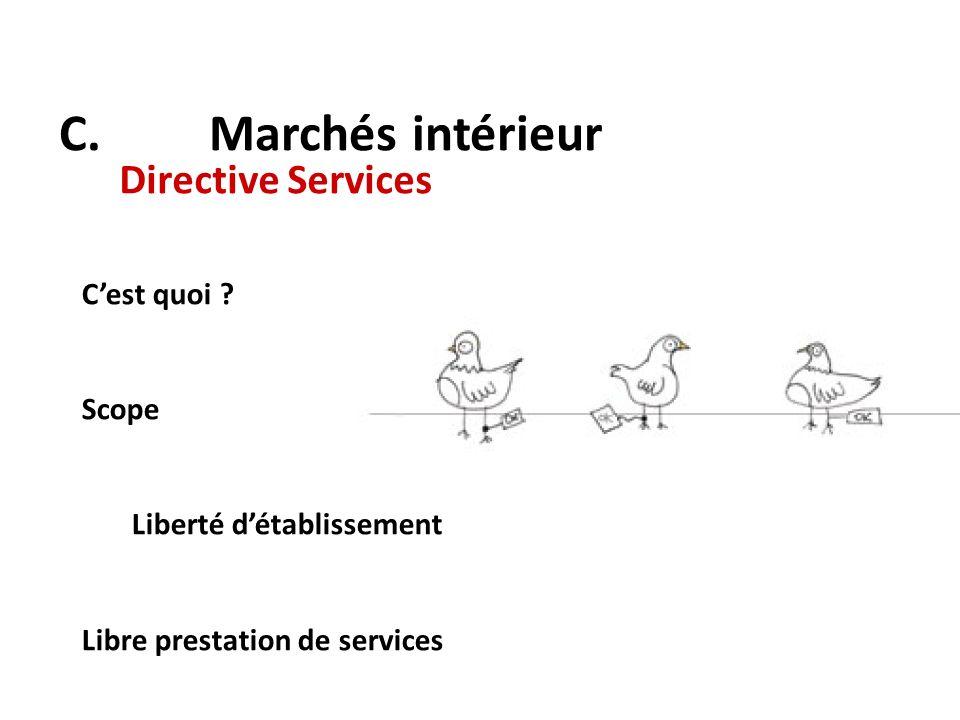 C. Marchés intérieur Directive Services Cest quoi ? Scope Liberté détablissement Libre prestation de services