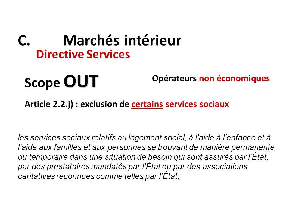 C. Marchés intérieur Directive Services OUT Scope OUT Article 2.2.j) : exclusion de certains services sociaux les services sociaux relatifs au logemen