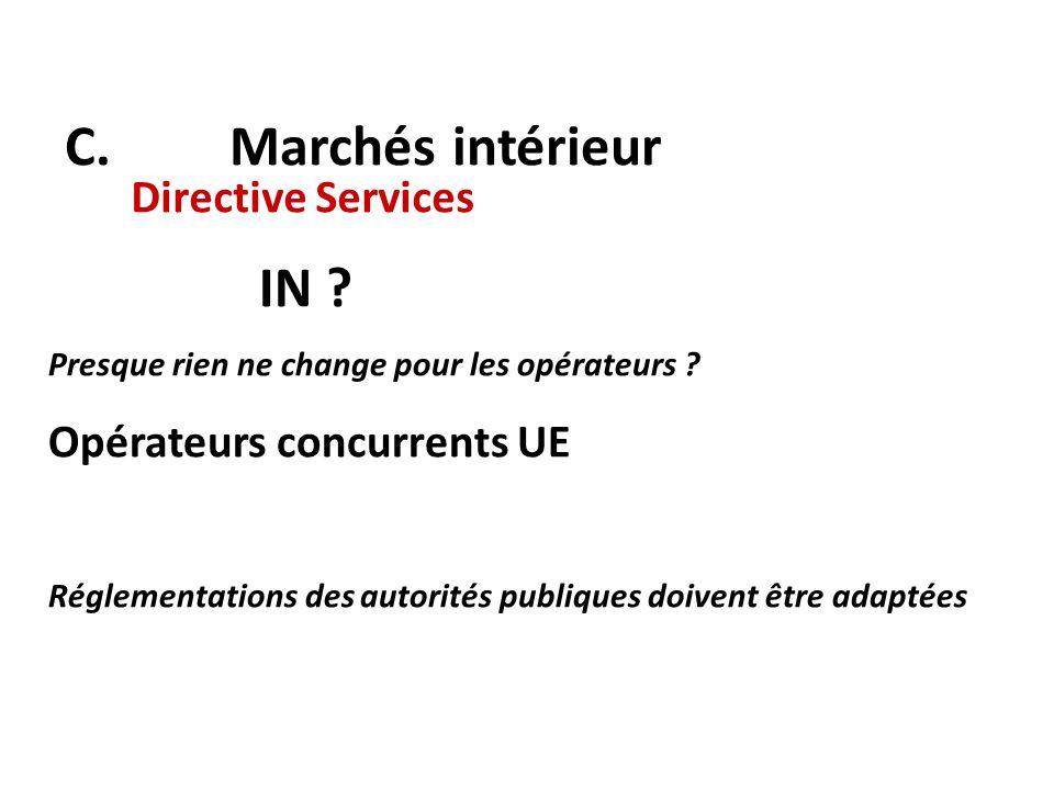 C. Marchés intérieur Directive Services IN ? Presque rien ne change pour les opérateurs ? Opérateurs concurrents UE Réglementations des autorités publ
