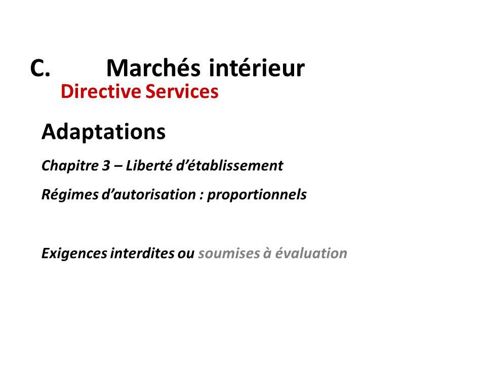 C. Marchés intérieur Directive Services Adaptations Chapitre 3 – Liberté détablissement Régimes dautorisation : proportionnels Exigences interdites ou