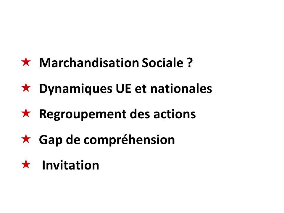 Marchandisation Sociale ? Dynamiques UE et nationales Regroupement des actions Gap de compréhension Invitation