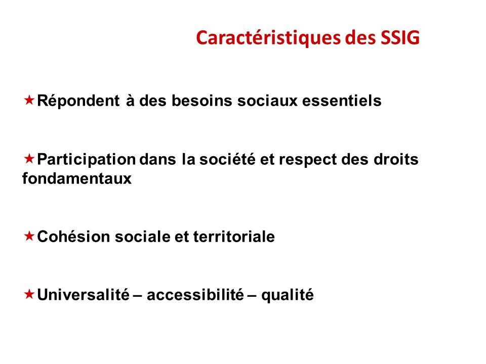 Caractéristiques des SSIG Répondent à des besoins sociaux essentiels Participation dans la société et respect des droits fondamentaux Cohésion sociale