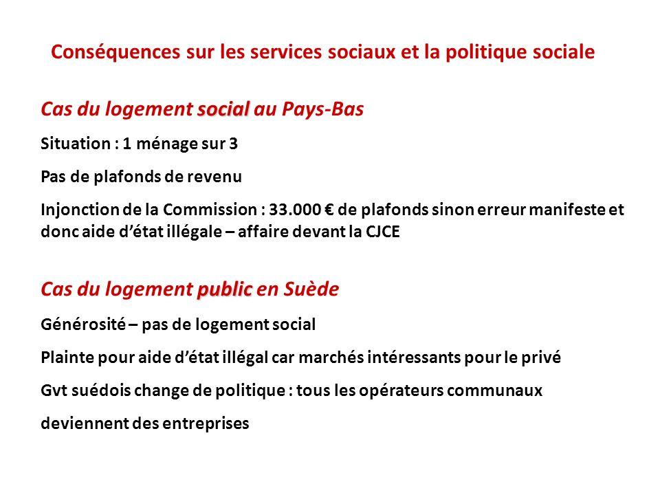 Conséquences sur les services sociaux et la politique sociale social Cas du logement social au Pays-Bas Situation : 1 ménage sur 3 Pas de plafonds de