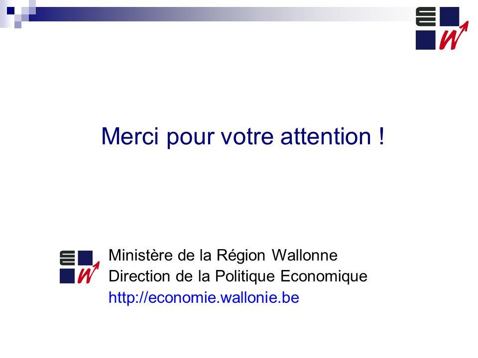 Merci pour votre attention ! Ministère de la Région Wallonne Direction de la Politique Economique http://economie.wallonie.be