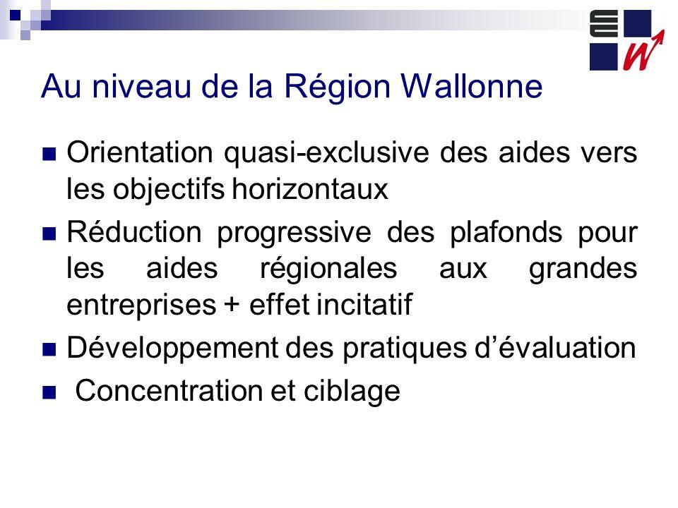 Au niveau de la Région Wallonne Orientation quasi-exclusive des aides vers les objectifs horizontaux Réduction progressive des plafonds pour les aides