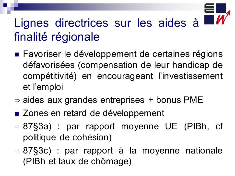 Lignes directrices sur les aides à finalité régionale Favoriser le développement de certaines régions défavorisées (compensation de leur handicap de c
