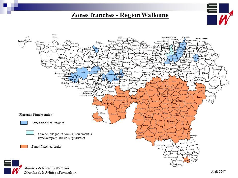 Carte 2007-2013 des aides à finalité régionale en Wallonie Eligibilité du Hainaut au Phasing out statistique Zonage 87§3c) au niveau communal, mais zones contiguës de min.