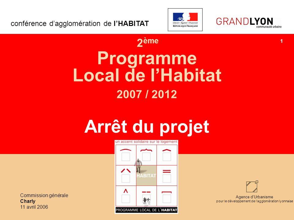 Agence dUrbanisme pour le développement de lagglomération lyonnaise 2 ème Programme Local de lHabitat 2007 / 2012 Arrêt du projet conférence dagglomér