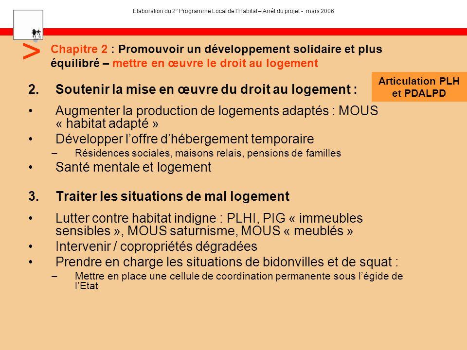 2.Soutenir la mise en œuvre du droit au logement : Augmenter la production de logements adaptés : MOUS « habitat adapté » Développer loffre dhébergeme