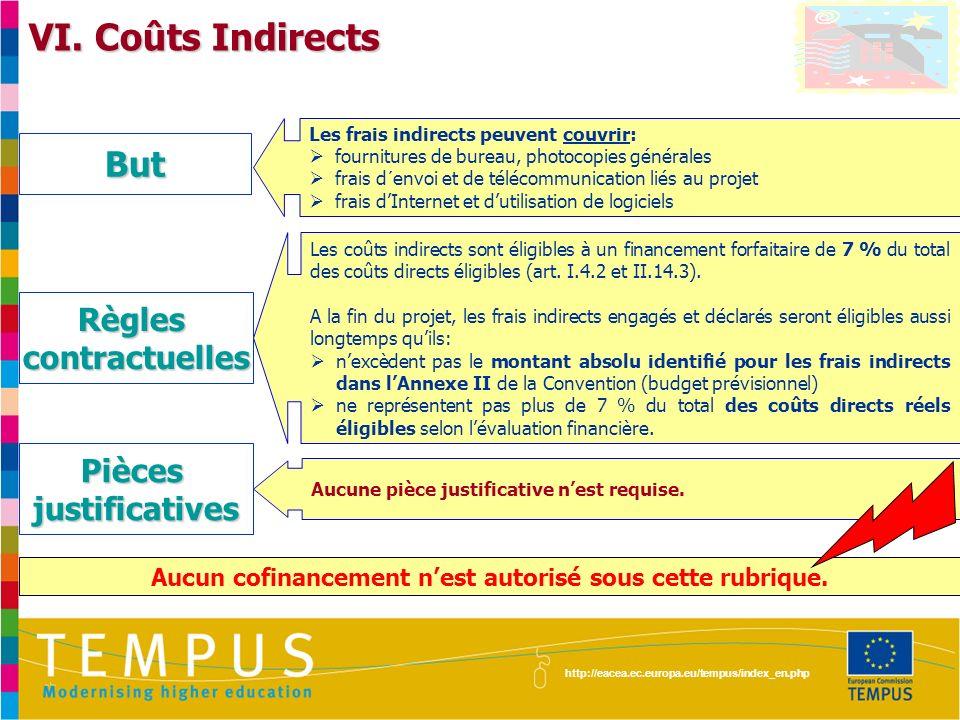 http://eacea.ec.europa.eu/tempus/index_en.php VI. Coûts Indirects Les frais indirects peuvent couvrir: fournitures de bureau, photocopies générales fr