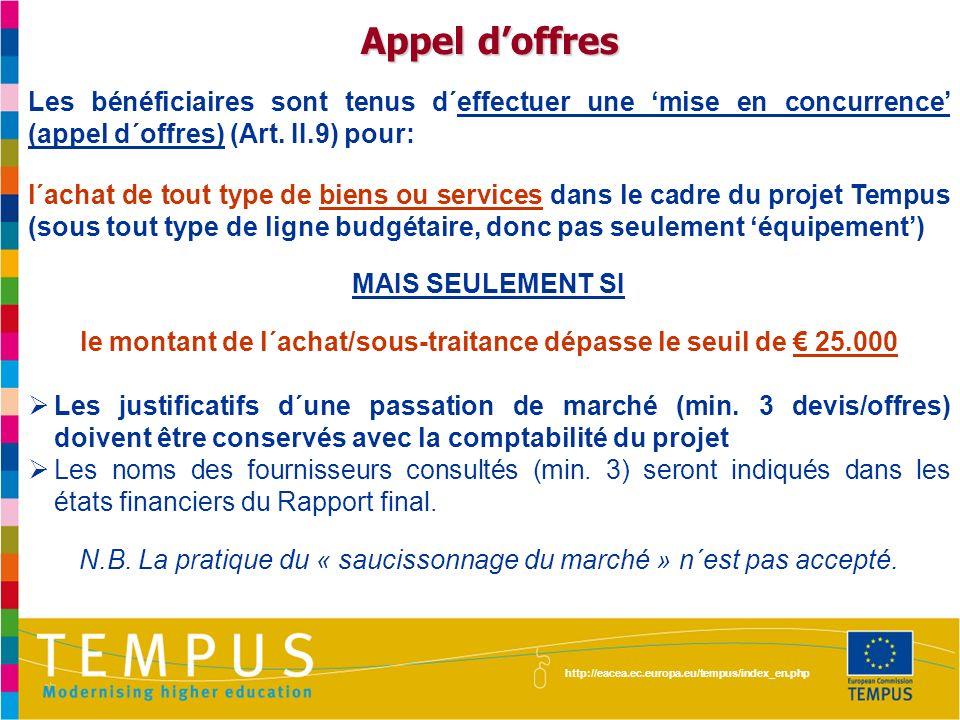 http://eacea.ec.europa.eu/tempus/index_en.php Les bénéficiaires sont tenus d´effectuer une mise en concurrence (appel d´offres) (Art. II.9) pour: l´ac