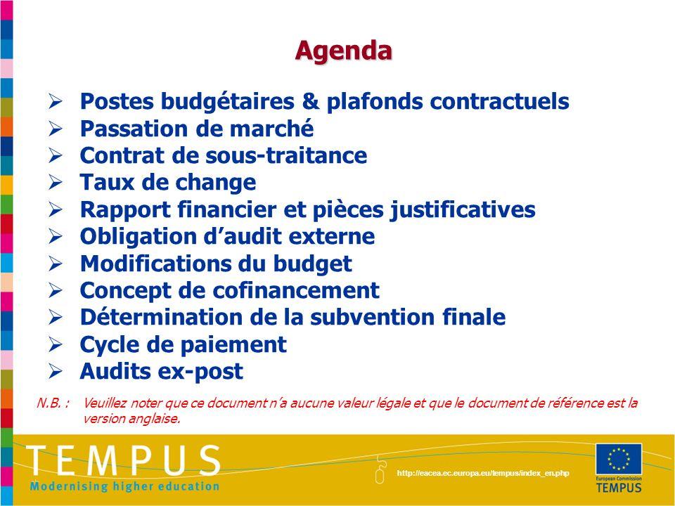 http://eacea.ec.europa.eu/tempus/index_en.php Agenda Postes budgétaires & plafonds contractuels Passation de marché Contrat de sous-traitance Taux de