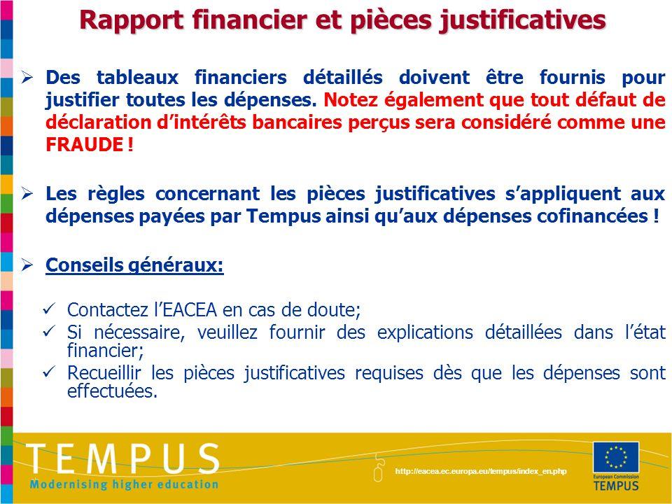http://eacea.ec.europa.eu/tempus/index_en.php Rapport financier et pièces justificatives Des tableaux financiers détaillés doivent être fournis pour j