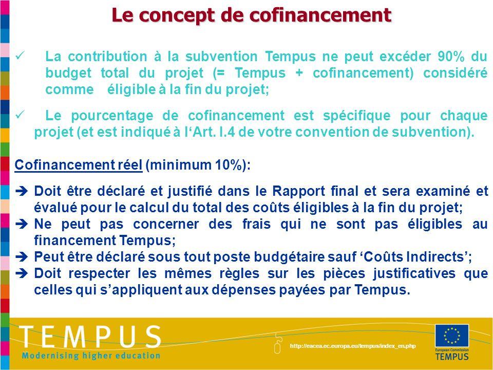 http://eacea.ec.europa.eu/tempus/index_en.php Le concept de cofinancement La contribution à la subvention Tempus ne peut excéder 90% du budget total d