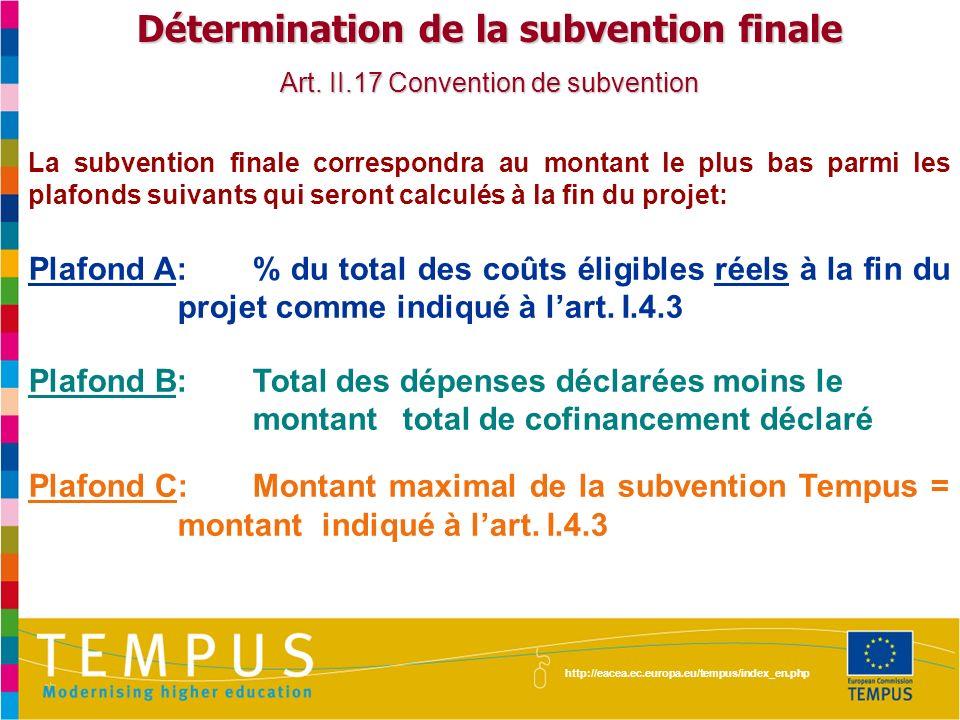http://eacea.ec.europa.eu/tempus/index_en.php Détermination de la subvention finale Art. II.17 Convention de subvention La subvention finale correspon