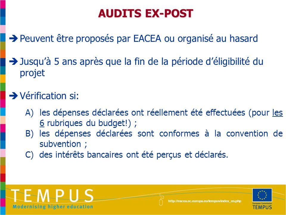 http://eacea.ec.europa.eu/tempus/index_en.php Documents de référence à consulter régulièrement: Convention de subvention Lignes directrices pour lutilisation de la subvention Foires Aux Questions http://eacea.ec.europa.eu/tempus