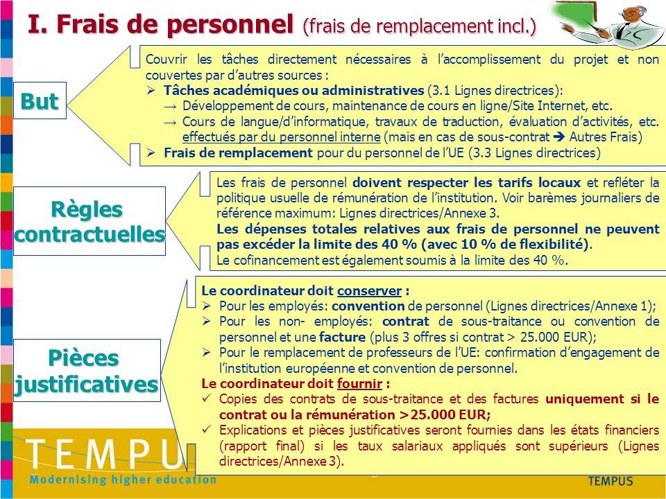 http://eacea.ec.europa.eu/tempus/index_en.php I. Frais de personnel (frais de remplacement incl.) Couvrir les tâches directement nécessaires à laccomp