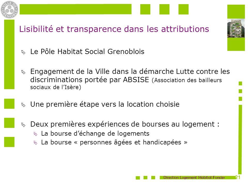 Direction Logement Habitat Foncier 21 Lisibilité et transparence dans les attributions Le Pôle Habitat Social Grenoblois Engagement de la Ville dans l
