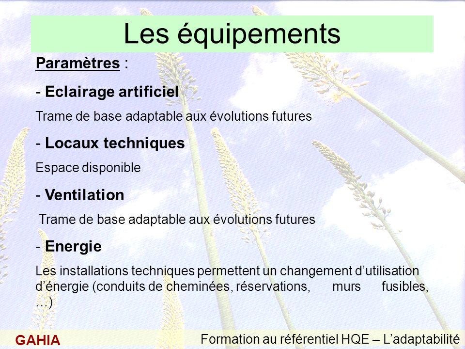 GAHIA Formation au référentiel HQE – Ladaptabilité Les équipements Paramètres : - Eclairage artificiel Trame de base adaptable aux évolutions futures