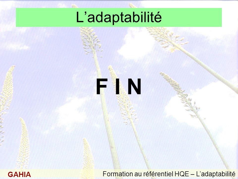 GAHIA Formation au référentiel HQE – Ladaptabilité Ladaptabilité F I N