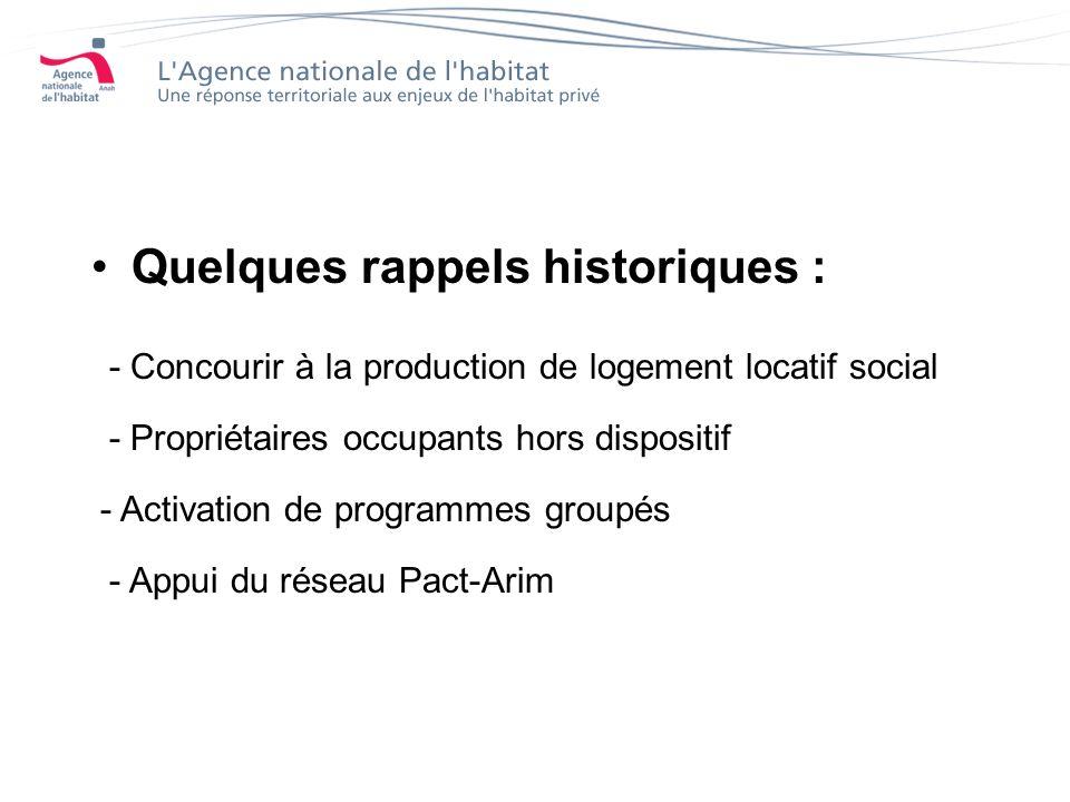 Quelques rappels historiques : - Concourir à la production de logement locatif social - Propriétaires occupants hors dispositif - Activation de programmes groupés - Appui du réseau Pact-Arim