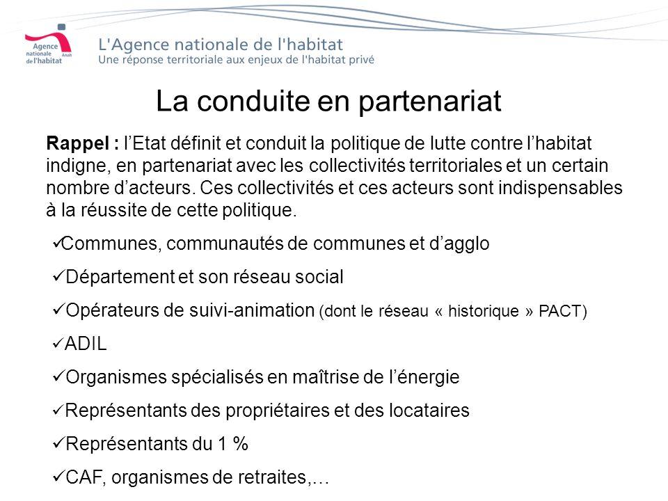 La conduite en partenariat Rappel : lEtat définit et conduit la politique de lutte contre lhabitat indigne, en partenariat avec les collectivités territoriales et un certain nombre dacteurs.