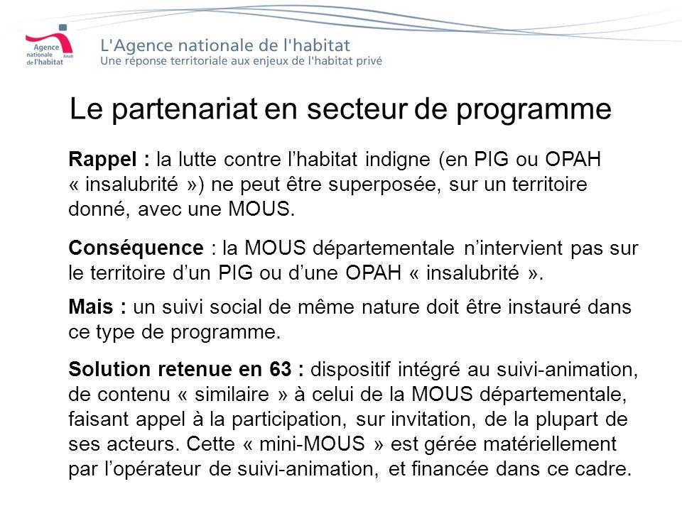 Le partenariat en secteur de programme Rappel : la lutte contre lhabitat indigne (en PIG ou OPAH « insalubrité ») ne peut être superposée, sur un territoire donné, avec une MOUS.