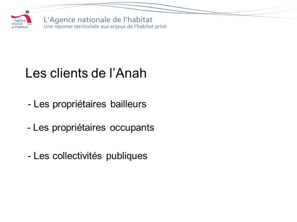 Les clients de lAnah - Les propriétaires bailleurs - Les propriétaires occupants - Les collectivités publiques