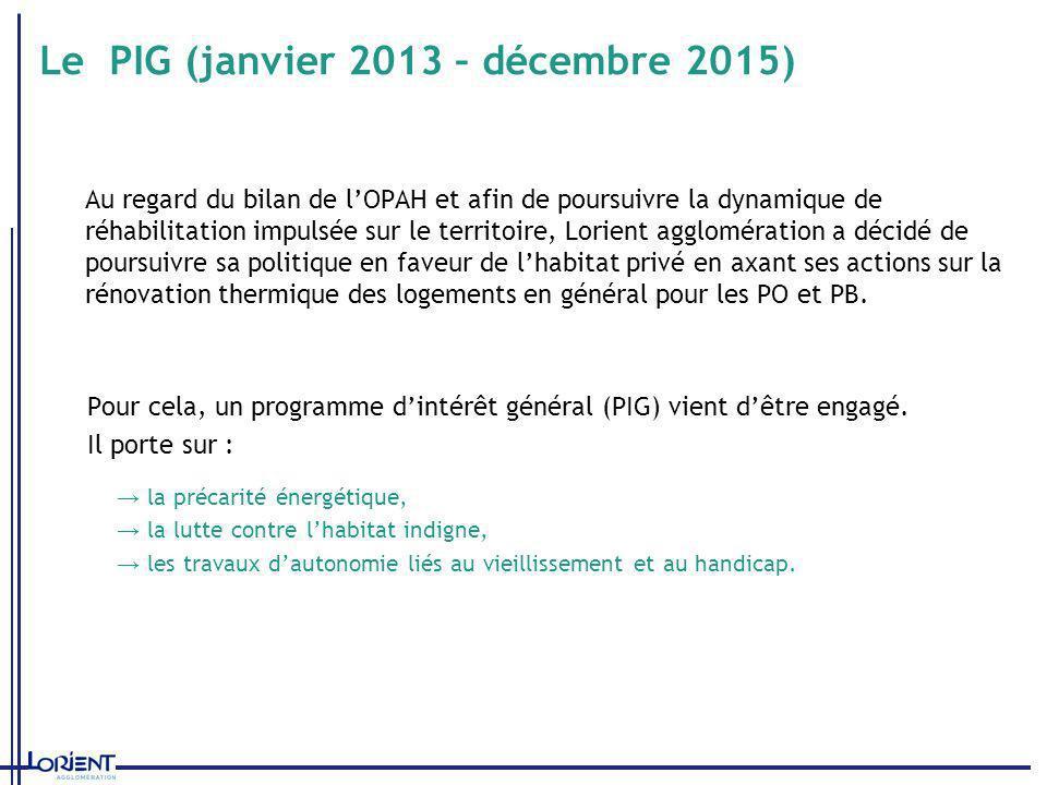 Le PIG (janvier 2013 – décembre 2015) Au regard du bilan de lOPAH et afin de poursuivre la dynamique de réhabilitation impulsée sur le territoire, Lor