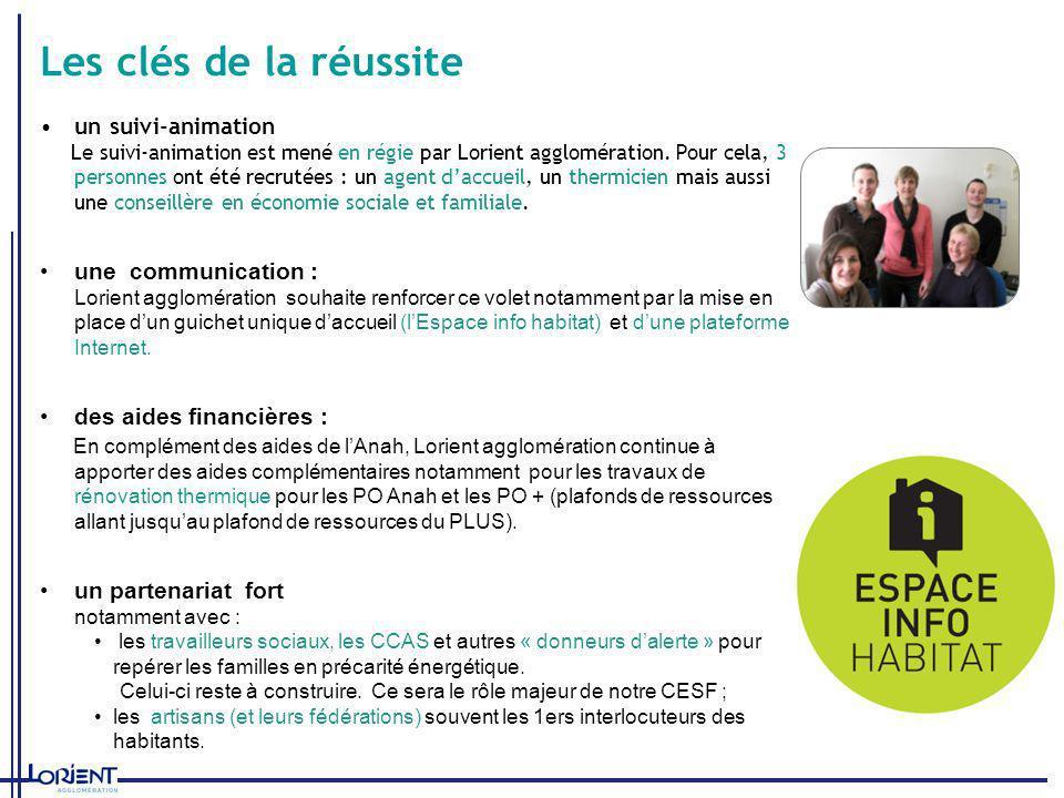 Les clés de la réussite un suivi-animation Le suivi-animation est mené en régie par Lorient agglomération. Pour cela, 3 personnes ont été recrutées :