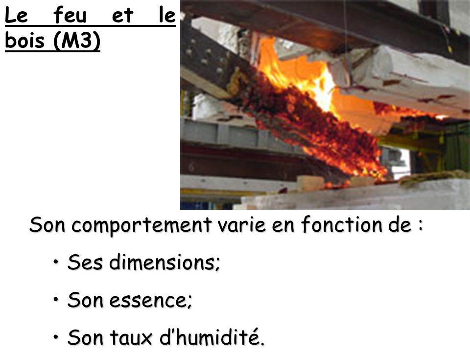 Le feu et le bois (M3) Son comportement varie en fonction de : Ses dimensions; Ses dimensions; Son essence; Son essence; Son taux dhumidité.